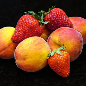 Yum! by Joan Sharp - Food & Drink Fruits & Vegetables ( grouped, fruit, peaches, strawberries,  )