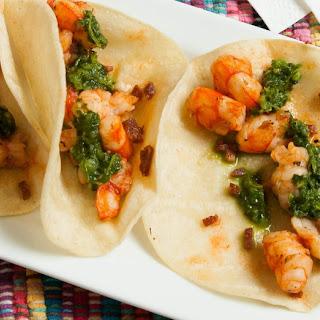 Shrimp Tacos with Cilantro Chimichurri Sauce