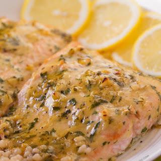 Baked Salmon with Honey Dijon and Garlic.