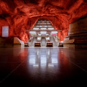 Stairway to Hell by Steve Struttmann - Buildings & Architecture Public & Historical ( canon, lights, reflection, europe, stairs, subway, dark, travel, underground, rocks )