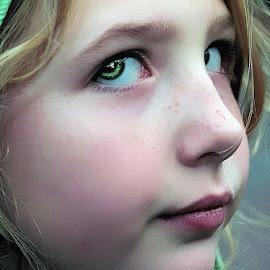 Natia by Sandy Considine - Babies & Children Child Portraits ( blonde, green hood, green eyes )