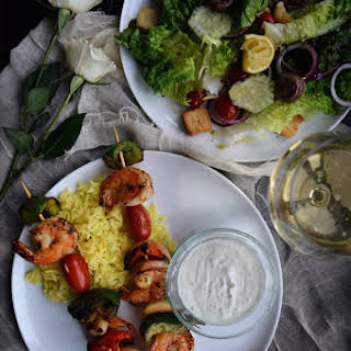 Grilled Shrimp Kabobs with Fresh Tzatziki Sauce.