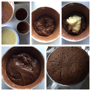 Chocolate Soufflé with a Passion Fruit – White Chocolate Ganache center.