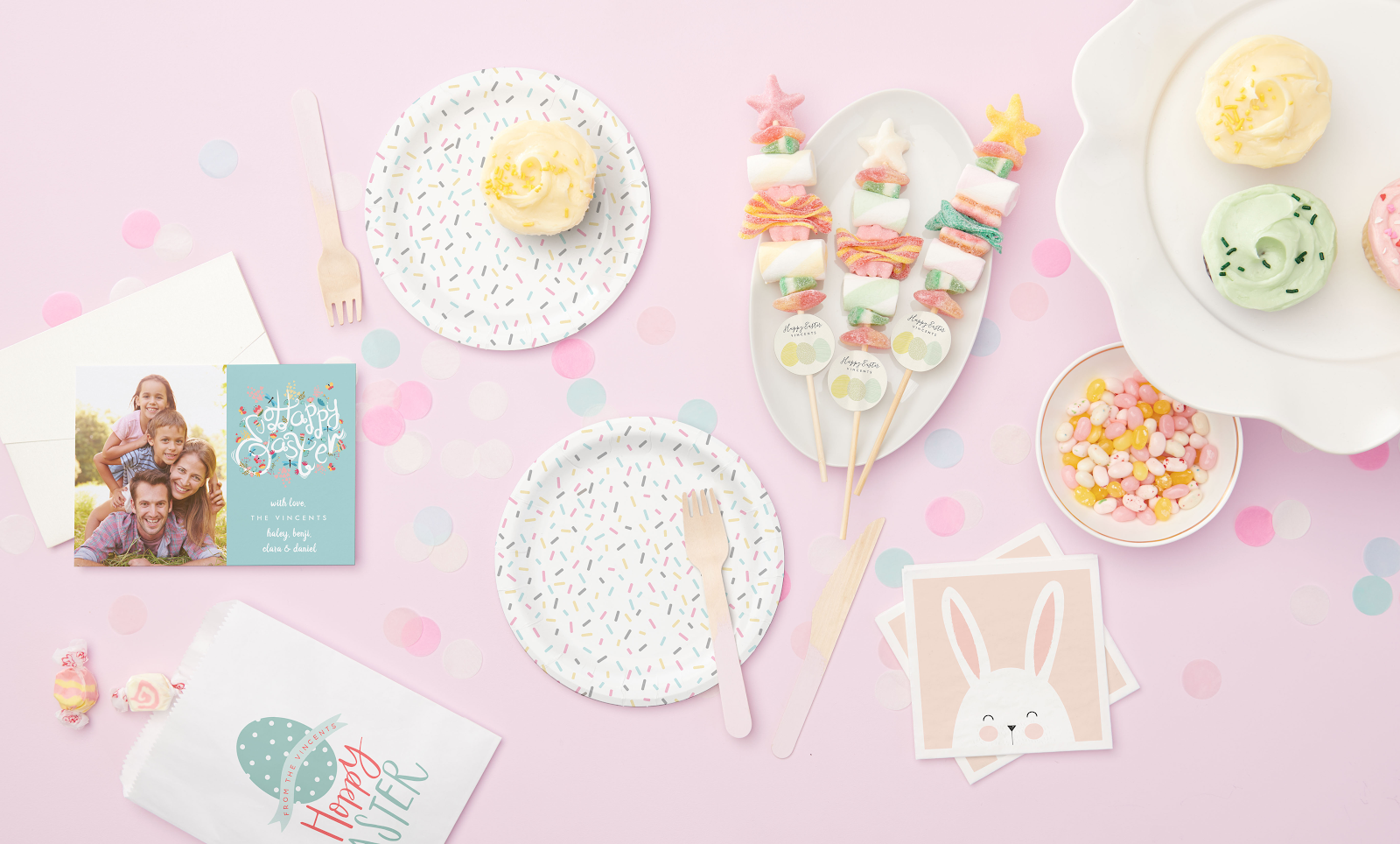 Easter DIY Candy Kabobs with Easter decorations and supplies