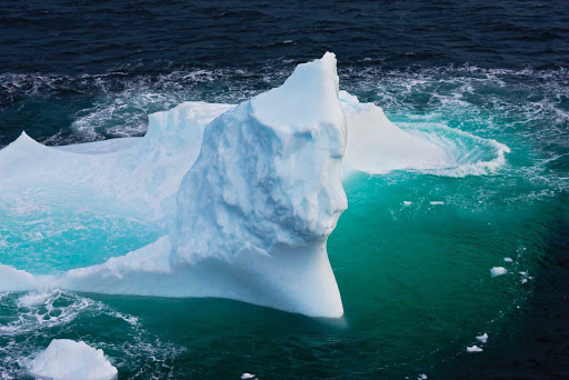 A large iceberg — perhaps with a melted face -- off the coast of Newfoundland and Labrador.