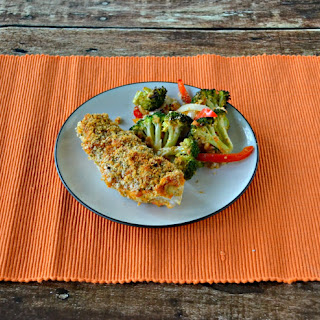 Hummus Crusted Chicken with Broccoli and Peppers