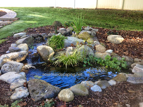 Photo: Acorn Ponds & Waterfalls, Certified Aquascape Contractor since 2004. Check out our website www.acornponds.com and give us a call 585.442.6373.  Small #fishpond with crystal clear water, #waterfalls, pond plants, LED lighting, pond filtration, fish cave created for a family in Webster, NY.  For more info about ponds installations, please click here: www.acornponds.com/ponds.html  Here is what they had to say: I am retired and went to live with my son and daughter-in-law. After I sold my house, I missed the homemade pond that I had at my house. My son & daughter-in-law said I could put in a pond as long as it was done professionally. I researched pond builders and settled on Acorn.  They seemed the most professional and knew a great deal about ponds. My pond and waterfall were installed in a timely manner. The workers worked quickly, quietly and efficiently. Tom had suggested a different spot than the one we thought of. He made a lot of sense and we built the pond close to my entrance. The workers were done in three days and picked up after themselves and did not leave any messes for us.  Acorn was very helpful in suggested where to put the electricity. The entire family is enjoying the pond! The waterfall is very calming. The kids and I have enjoyed stocking and feeding the fish. The grandkids show their friends the pond. The pond has attracted a tiny frog which has stayed with us. Also, birds have come. I especially enjoyed a yellow finch which has come to drink from my feeder and also drank from the waterfalls. I know we will enjoy this pond for many years to come. Linda W. — in Webster, N  Check out our photo albums on Pinterest here: www.pinterest.com/acornlandscape/  Click here for a free Magazine all about Ponds and Water Features: http://flip.it/gsrNN  Sign up for your personal design consultation here: www.acornponds.com/contact-us.html  To see more of our #pondinstallations on Facebook click here: www.facebook.com/media/set/?set=a.464911070212687.9460