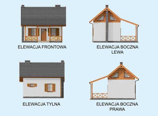 Bari dom letniskowy z poddaszem szkielet drewniany - Elewacje