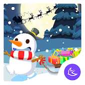 Merry Christmas Cute Snowman-APUS Launcher theme
