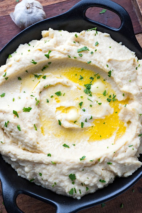 Horseradish Mashed Parsnips and Celery Root
