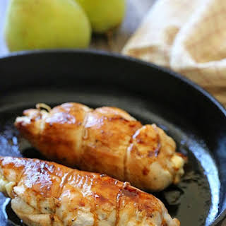 Stuffed Chicken Breast with Prosciutto, Pears and Brie.