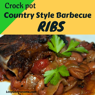 Crock pot Country Style Barbecue Ribs and Beans.