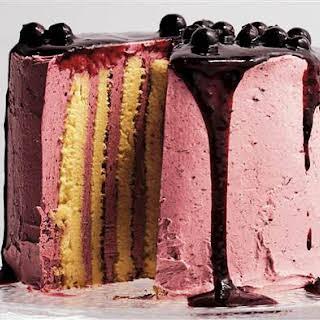 Lemon and Blackcurrant Stripe Cake.