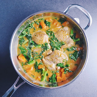 Coconut Braised Chicken Thighs with Kale and Sweet Potatoes Recipe