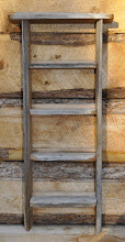 Photo: #5 Ladder Shelf - Laberge douglas fir from various boards with shelves left natural on both sides. Inside of verticals are planned smooth
