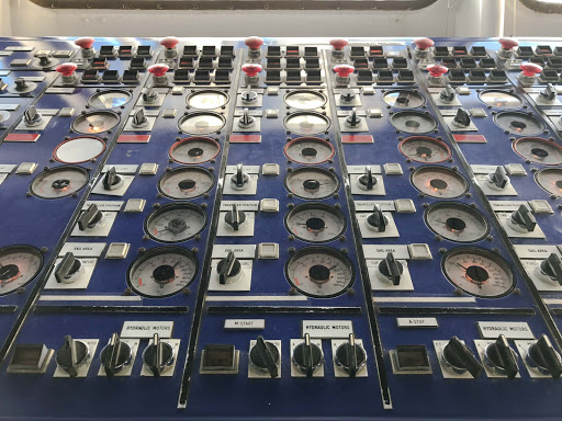 control-panel.jpg - The control panel on the bridge of Wind Surf, featuring hydraulic motors and more.