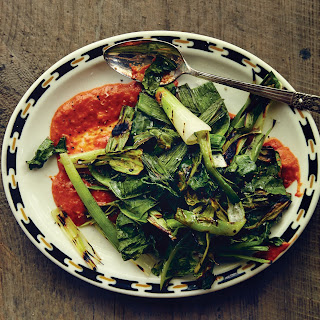 Grilled Greens and Leek Tops with Chile-Garlic Sauce Recipe