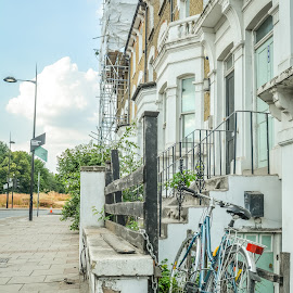 Bike Outside The House by T Sco - Buildings & Architecture Homes ( sidewalk, england, london, bicycle, porch, stairs, sign, u.k., walkway, ride, steps, bike, transportation, path, road, uk, railing,  )