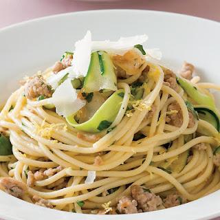 Spaghetti with Lemon, Pork and Zucchini.
