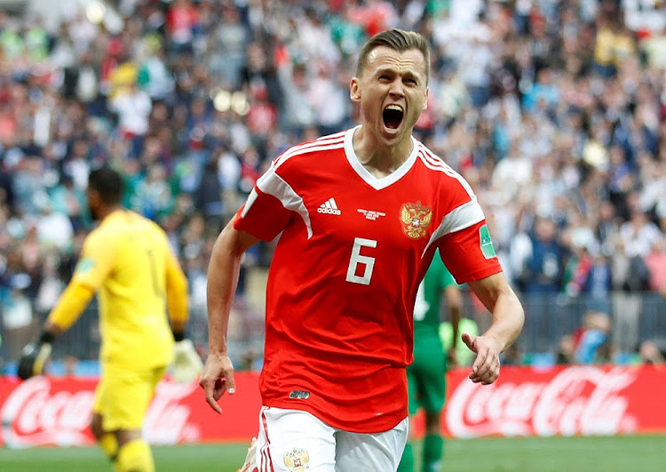 Goal! Denis Cheryshev celebrates scoring Russia's second goal in their 5-0 win over Saudi Arabia in the opening match of the World Cup finals in Moscow, June 14 2018. Picture: REUTERS