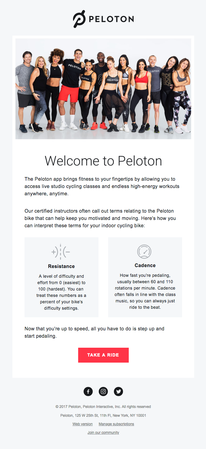 Peloton email example