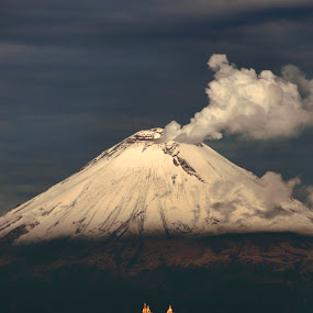 Popocatepetl and Church by Cristobal Garciaferro Rubio - Landscapes Mountains & Hills ( cholula, volcano, popo, mexico, puebla, snow, popocatepetl, snowy volcano, smoking volcano, smoke )
