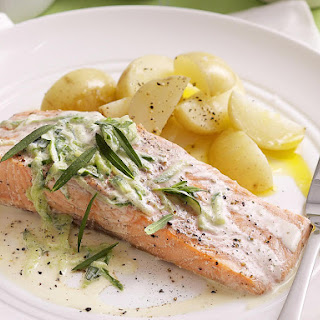Poached Salmon with Cucumber Sauce.
