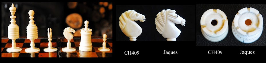 Photo: A plain barleycorn set (CH409) compared to pieces with typical Jaques attributes.  Knights have what may be loosely described as  'flame-like' manes associated with Jaques, but less well-defined, and the faces are of a different shape.  Rooks have only 4 crenelations, as opposed to the 6 found on Jaques sets.