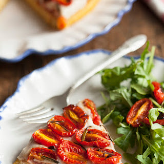Polenta Tart with Garlicky White Bean Spread and Roasted Cherry Tomatoes Recipe