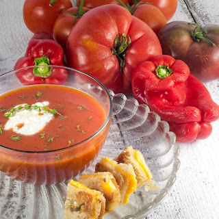 Heirloom Tomato and Sweet Red Pepper Soup with Grilled Cheese Croutons and Goat Cheese Drizzle