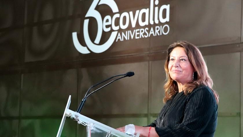 Carmen Crespo en el acto de Ecovalia.