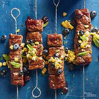 Grilled Pork Skewers with Blueberry Barbecue Sauce