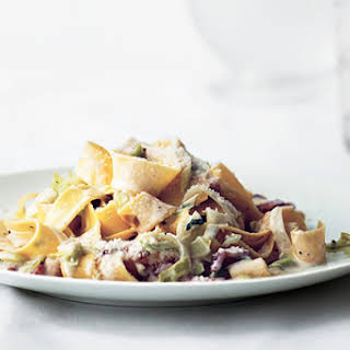 Creamy Pappardelle with Leeks and Bacon.