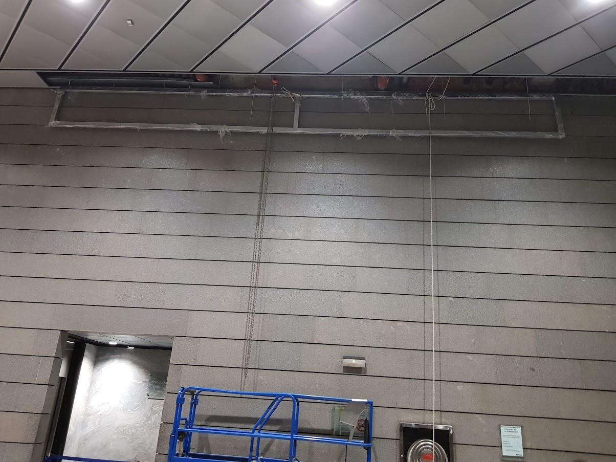 Estructura anclada al techo finalizada