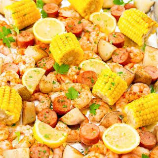 Foil Sheet Pan Oven Shrimp Boil.