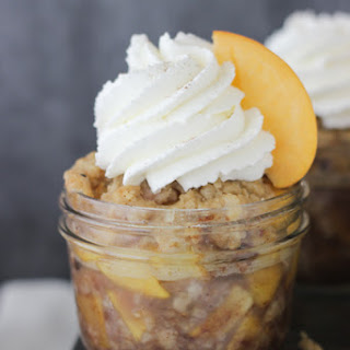 Peach Maple Walnut Crisps with Champagne Whipped Cream