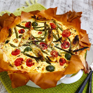 Italian Cheesy Artichoke and Asparagus Phyllo Tart