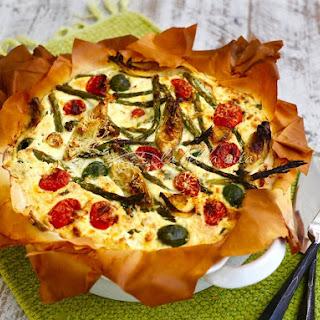 Italian Cheesy Artichoke and Asparagus Phyllo Tart.