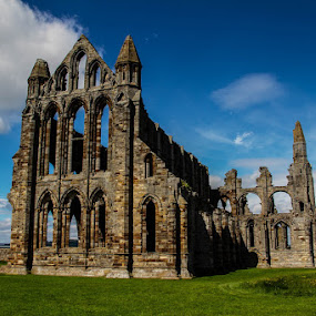 Whitby Abbey by Andrew Lancaster - Buildings & Architecture Places of Worship ( sky, abbey, beautiful, grass, church, whitby, landscape, building, architecture, stone )