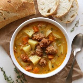 Potato Leek Soup with Italian Sausage.