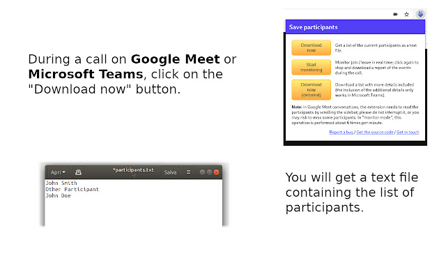 Save Participants (Google Meet & MS Teams)