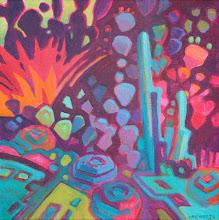 "Photo: ""Garden Party"", acrylic on canvas 12"" x 12"", © Nancy Roberts"
