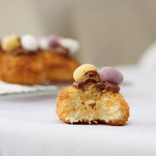 Coconut Macaroons Topped with Mini Eggs.