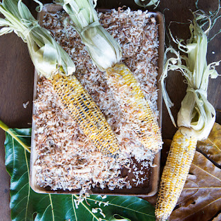 Grilled Corn with Jerk Mayo and Coconut.
