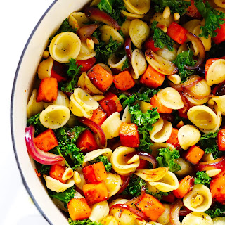 Pasta with Caramelized Sweet Potatoes and Kale.