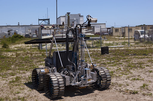 A demonstration of the prototype rover Artemis Jr. for NASA's Regolith and Environment Science project is conducted.