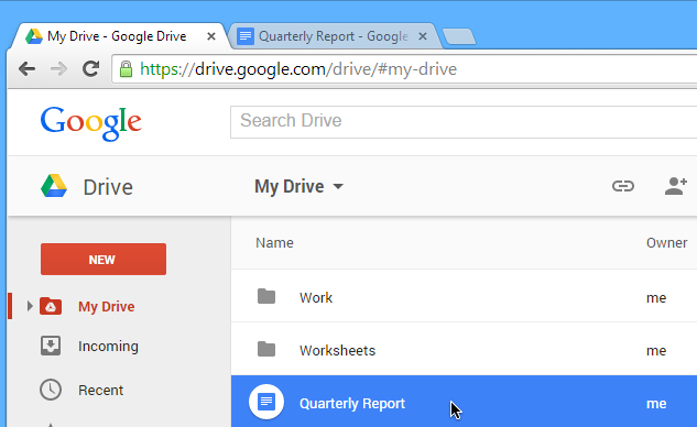 Screenshot of Google Drive