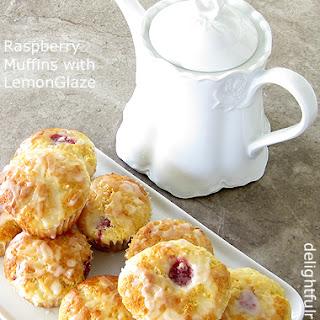 Raspberry Muffins with Lemon Glaze.