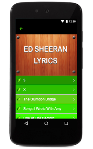 android Ed Sheeran Music Lyrics Screenshot 1