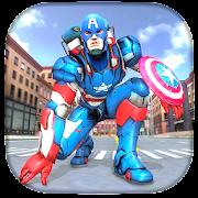 Superhero Captain Flying Robot City Rescue Mission